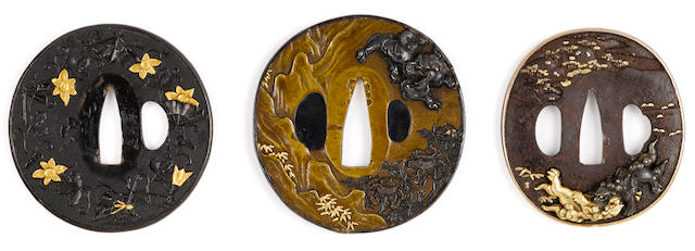 A ko-kinko-style tsuba and two Mito school tsuba Edo period (18th century and later)