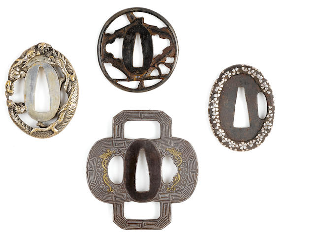 Three tanto tsuba and a Nanban tsuba Edo period (19th century)