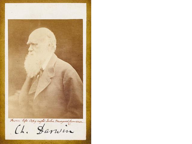 "DARWIN, CHARLES. 1809-1882. Photograph Signed (""Ch. Darwin""),"