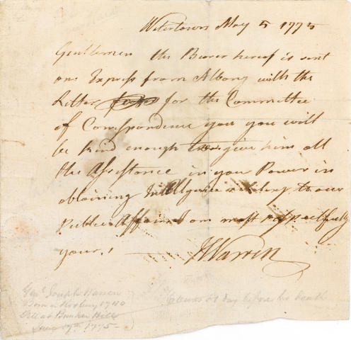"WARREN, JOSEPH. 1741-1775. Autograph Letter Signed (""J Warren"") as President pro tem of the Massachusetts Provincial Congress, 1 p, oblong 8vo, Watertown [MA], May 5, 1775,"
