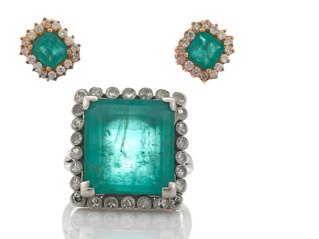 An emerald and diamond ring together with coordinating emerald, diamond and eighteen karat gold screwback earrings