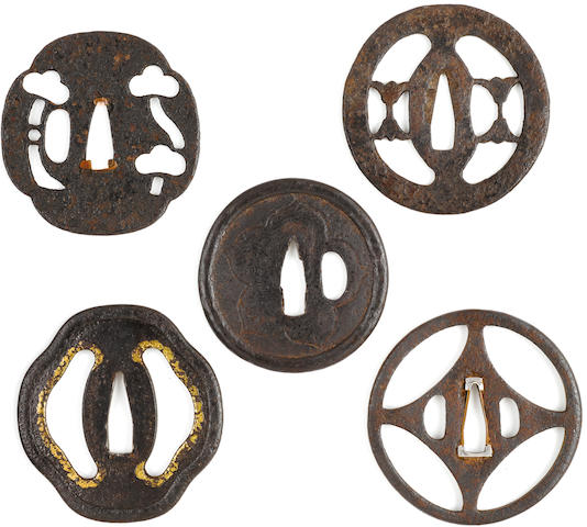 A group of five iron tsuba Edo period (17th century) and later