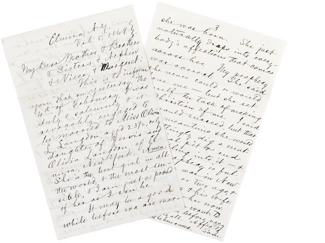 """CLEMENS, SAMUEL LANGHORNE. 1835-1910. Autograph Letter Signed (""""Sam.""""), 3 pp recto and verso, 8vo, Elmira, NY, February 5, 1869,"""