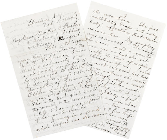 "CLEMENS, SAMUEL LANGHORNE. 1835-1910. Autograph Letter Signed (""Sam.""), 3 pp recto and verso, 8vo, Elmira, NY, February 5, 1869,"