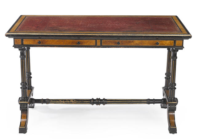 A Regency parcel ebonized burlwood writing table  Gillow & Co. first quarter 19th century