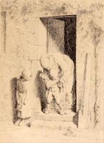 Jean-François Millet (French, 1814-1875); Le Précaution Maternelle; Femme vidant un Seau; (2)