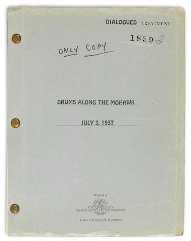 FAULKNER, WILLIAM. 1897-1962. Mimeographed Manuscript, dialogued treatment titled Drums Along the Mohawk, 248 pp, 4to, [Los Angeles], July 3, 1937,