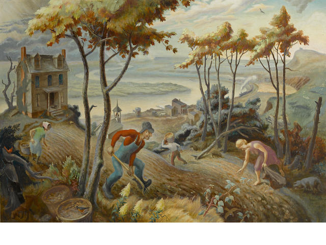 James Herbert FitzGerald (American, 1910-1973) Potato Harvest 24 x 35in