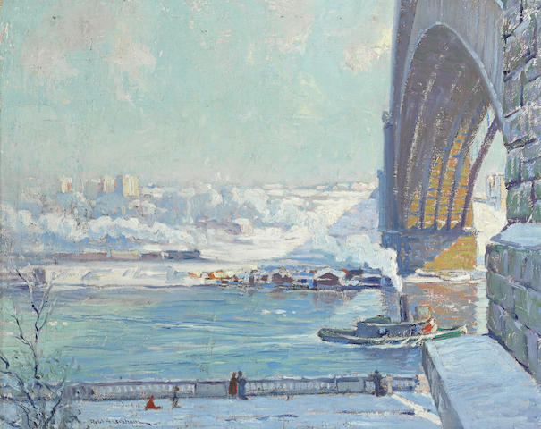 Robert Alexander Graham (American, 1873-1946) Washington Bridge, Winter 16 x 20in