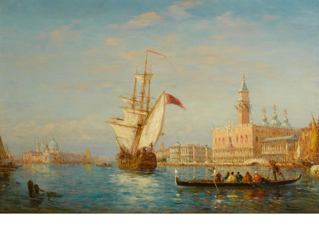 Attributed to Charles Clément Calderon (French, 1870-1906) L'entrée dans le Grand Bassin, Venise 21 1/2 x 32in