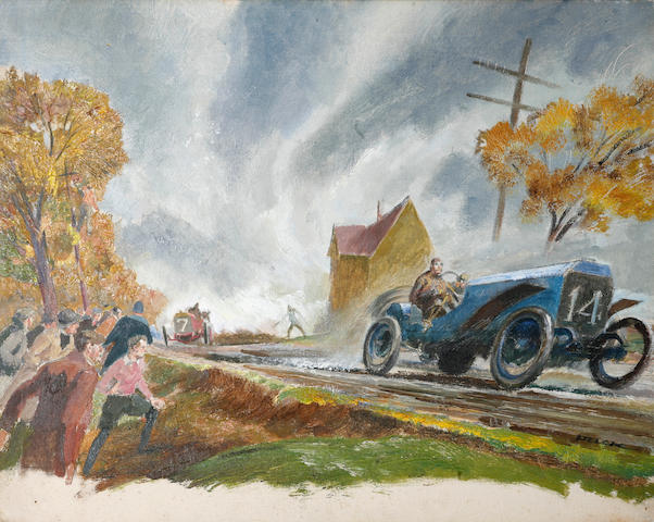 "A Vanderbilt Cup racing scene oil painting,   by Peter Helck, 16"" x 20"""