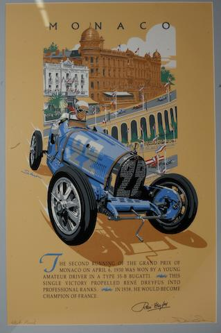 A large Monaco Grand Prix print by Simon,