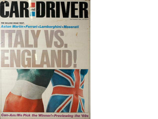 A framed poster of the Car and Driver 1968 cover, Italy vs. England,