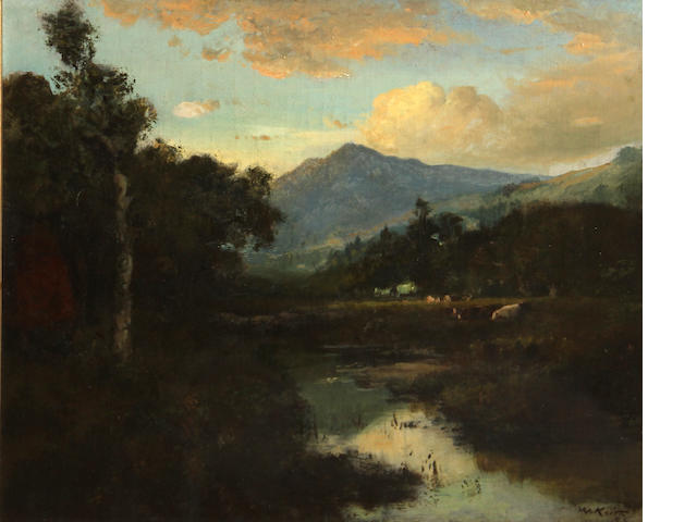 William Keith (Scottish/American, 1838-1911) California landscape with mountains beyond 25 x 30in