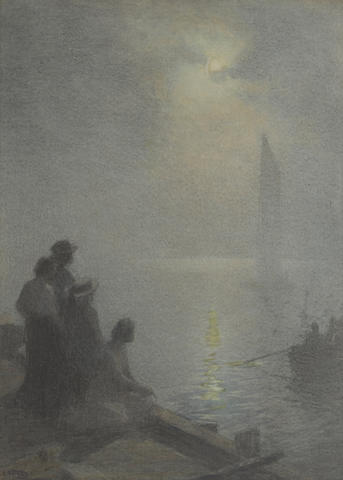 Edward Henry Potthast (American, 1857-1927) Moonlight Scene 20 x 28in