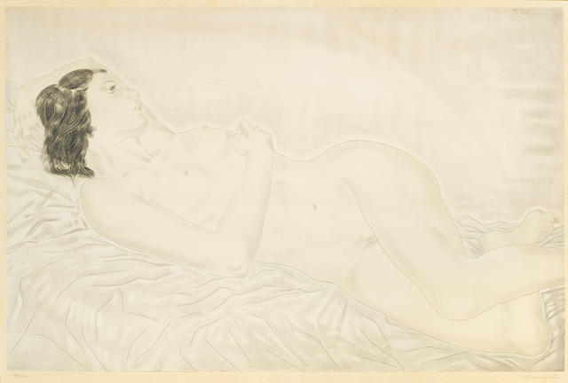 Léonard Tsuguharu Foujita (1886-1968); Reclining nude;