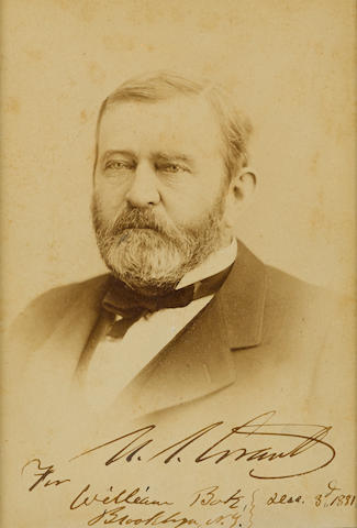 "GRANT, ULYSSES S. 1822-1885. Photograph Signed (""U.S. Grant"") and Inscribed,"