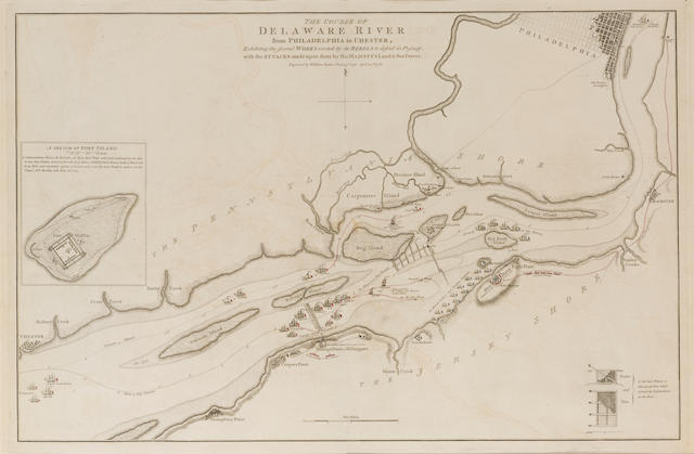 FADEN, WILLIAM. 1749-1836. The Course of Delaware River from Philadelphia to Chester. Exhibiting the several Works erected by the Rebels to defend its Passage, with the Attacks made upon them by His Majesty's Land & Sea Forces. London: engraved by William Faden, April 30, 1778.