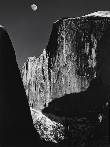 Ansel Adams (1902-1984); Moon and Half Dome, Yosemite National Park;