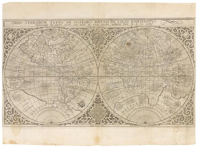 PLANCIUS, PETRUS. 1552-1622. Orbis Terrarum Typus de Integro Multis in Locis Emendatus. Amsterdam, 1590.