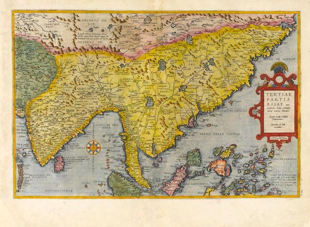 DE JODE, CORNELIS. 1568-1600. Tertiae partis Asiae quae modernis Indiae orientalis dicitur acurata delineatio. [Antwerp: 1578.]