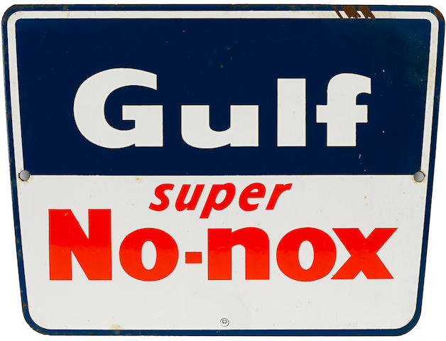 A Gulf Super No-nox pump plate,