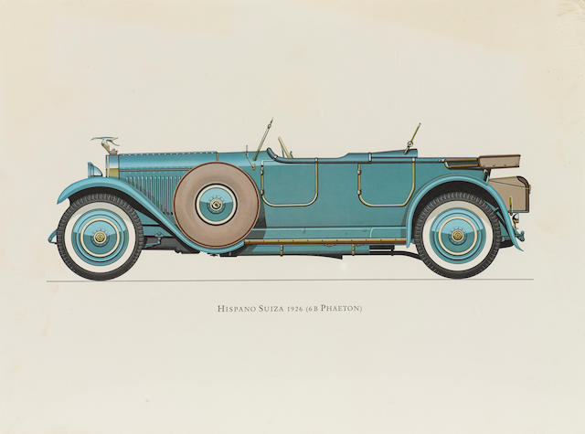 An artist rendering of a 1926 Hispano Suiza 6B Phaeton.