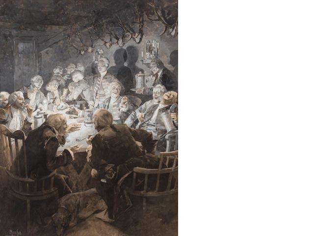 Alphonse Mucha (Czech, 1860-1939) Guillaume 1er dans son collège de Tabac 20 1/4 x 15 1/4in (51.5 x 38.8cm)