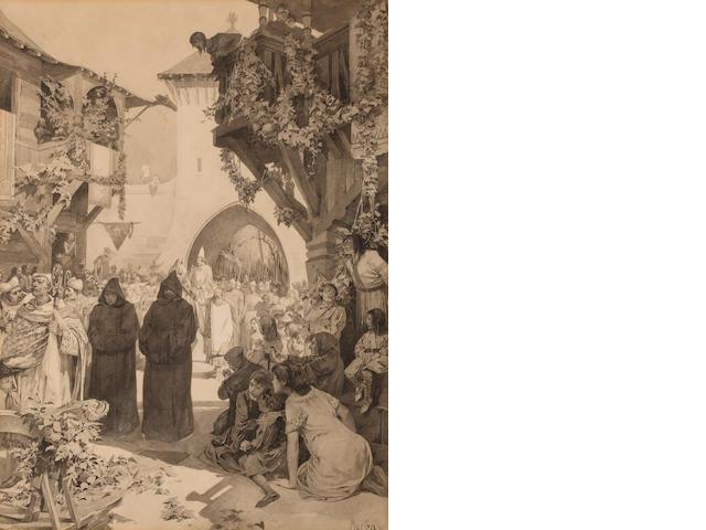 Alphonse Mucha (Czech, 1860-1939) L'Empereur Lothaire et le pape Innocent 15 3/8 x 11 1/4in (39 x 28.6cm)