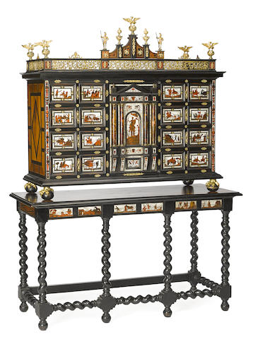 A Hispano Flemish Baroque style inlaid rosewood, etched bone and tortoiseshell parcel-ebonized cabinet on stand second half 19th century