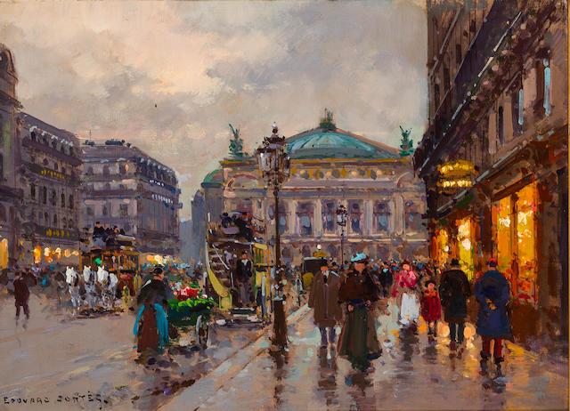 Edouard Henri Leon Cortès (French, 1882-1969) La Place de l'Opera 13 x 18in (33 x 45.8cm)