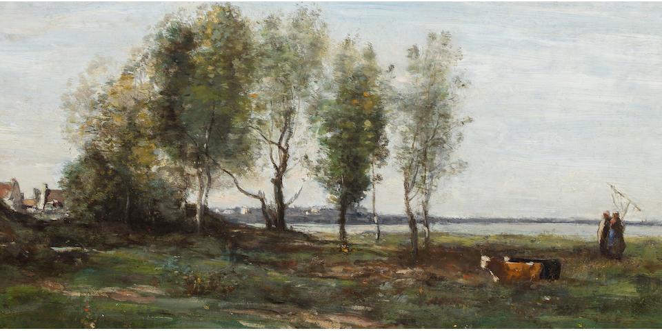 Jean-Baptiste-Camille Corot (French, 1796-1875) La Baie de Somme 9 3/8 x 19 5/8in (24 x 50cm)
