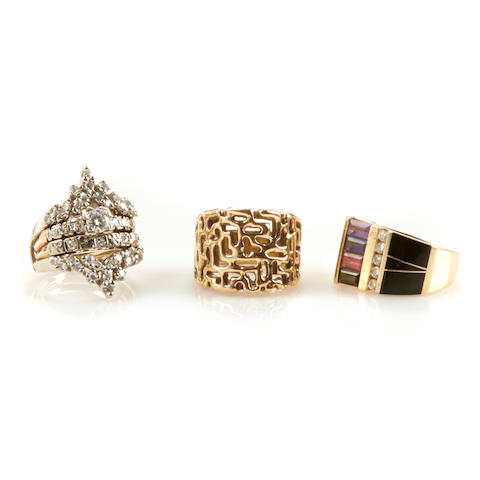 A group of four diamond, gem-set and gold rings