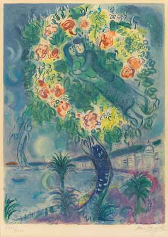 After Marc Chagall (1887-1985); by Charles Sorlier Couple and Fish, from Nice and the Côte d'Azur;