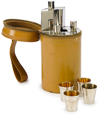 A traveling four person cocktail set, German, c. 1920s,