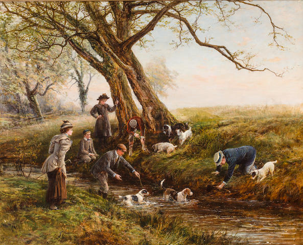 Heywood Hardy (British, 1843-1933) Crossing the stream 33 1/2 x 41 1/2in (85 x 105.5cm)