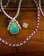 A diamond and opal pendant necklace and sapphire pendant