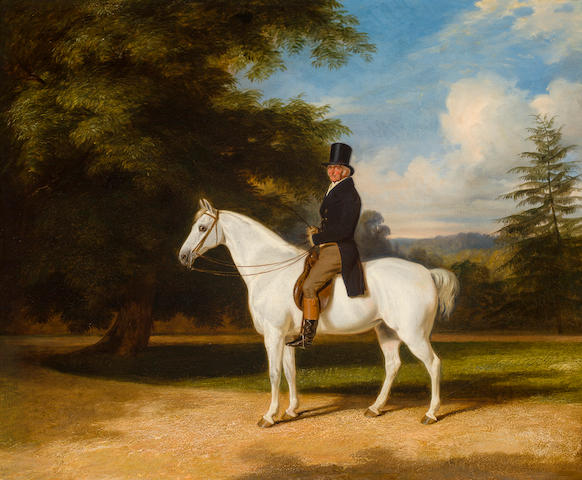 William Barraud (British, 1810-1850) A country squire on his grey hunter 25 x 30 1/4in (63.5 x 77cm)