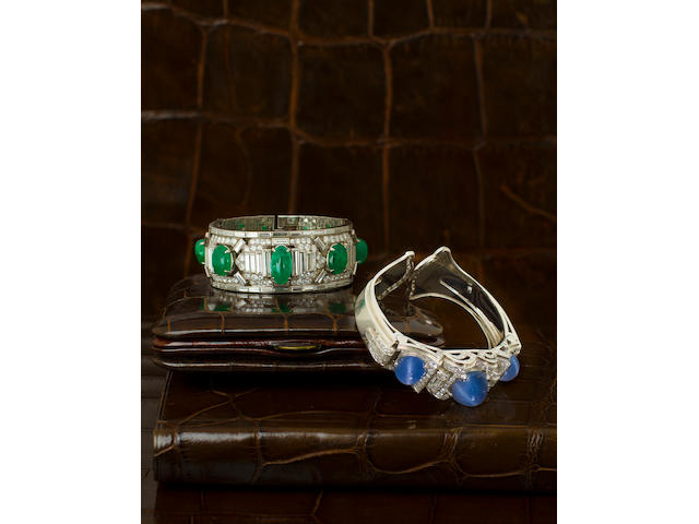 An emerald and diamond bracelet, Cartier,