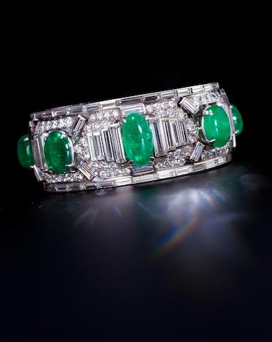 An emerald and diamond bracelet, Cartier,