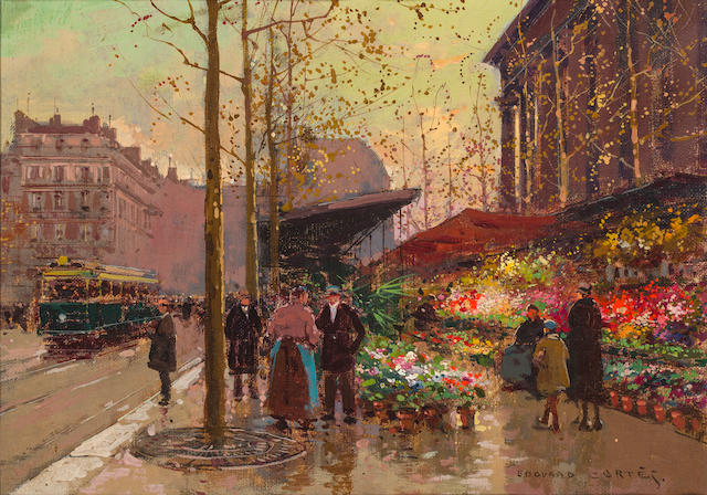 Edouard Henri Leon Cortès (French, 1882-1969) A Flower market at La Madeleine 9 1/2 x 13in (24 x 33cm)