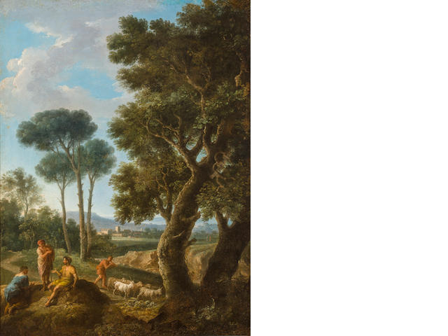 Andrea Locatelli (Rome 1693-circa 1741) Goat herders in an Italianate landscape 38 x 28 3/4in (96.5 x 73cm)