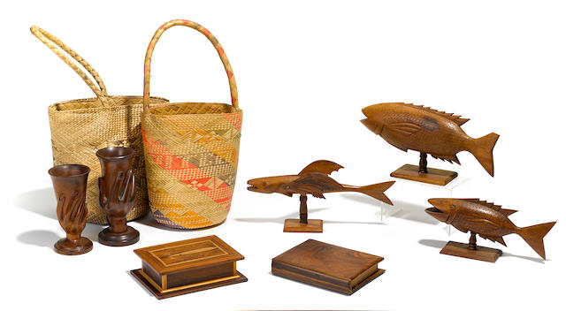 BOUNTY—PITCAIRN ISLAND. A collection of hardwood sculptural souvenirs from Pitcairn Island, 1940s, including: