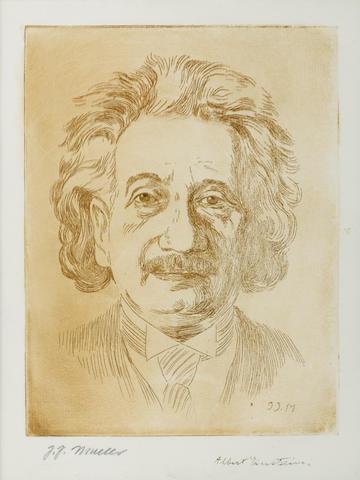 """EINSTEIN, ALBERT. 1879-1955. Engraved Portrait Signed (""""Albert Einstein"""") in lower margin, by J.J. Muller, 1934,"""