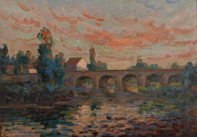 ARMAND GUILLAUMIN (1841-1927) Pont au soleil couchant 13 x 17 5/8in. (33 x 44.7cm)