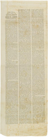LINCOLN, ABRAHAM. 1809-1865. Inaugural Message of Abraham Lincoln President of the United States. [n.p.: n.p.], Monday, March 4, 1861.