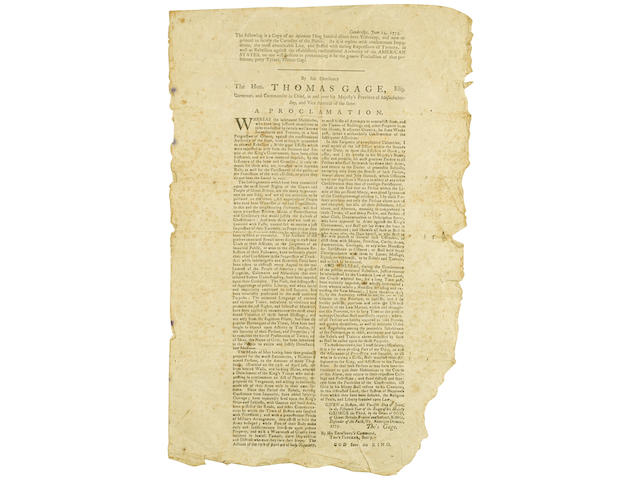 REVOLUTIONARY WAR BROADSIDE. [WARREN, JOSEPH?] The following is a Copy of an Infamous Thing handed about here Yesterday, and now reprinted to satisfy the Curiosity of the Public. As it is replete with consummate Impudence, the most abominable Lies, and stuffed with daring Expressions of Tyranny, as well as Rebellion against the established, constitutional Authority of the AMERICAN STATES, no one will hesitate in pronouncing it be the genuine Production of that perfidious, petty Tyrant, Thomas Gage. [Watertown, MA: Benjamin Edes, June 14, 1775.]