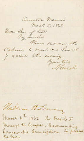 "LINCOLN, ABRAHAM. 1809-1865. Autograph Note Signed (""A. Lincoln""), 1 p, 8vo"