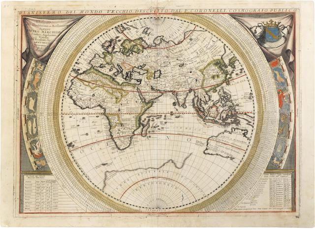 CORONELLI, VINCENZO MARIA. 1650-1718. Planisfero del Mondo Vecchio. WITH:  Planisfero del Mondo Nuovo. Venice: 1691.