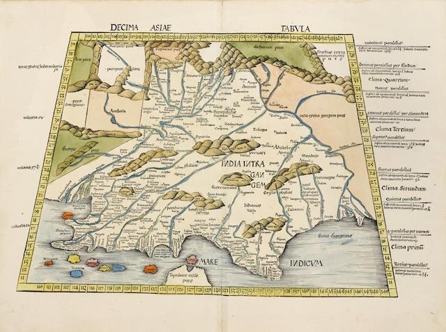 PTOLEMAEUS, CLAUDIUS, and MARTIN WALDSEEMÜLLER. Decima Asie Tabula. [Strassburg: J. Schott, 1513.]